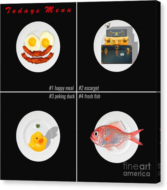 Eggs And Bacon Canvas Print - Todays Menu 20150712 Blk by Wingsdomain Art and Photography