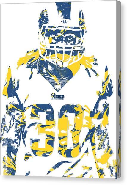 Los Angeles Rams Canvas Print - Todd Gurley Los Angeles Rams Pixel Art 21 by Joe Hamilton