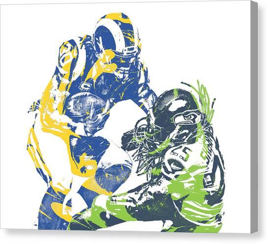 Los Angeles Rams Canvas Print - Todd Gurley Los Angeles Rams Richard Sherman Seattle Seahawks Pixel Art by Joe Hamilton