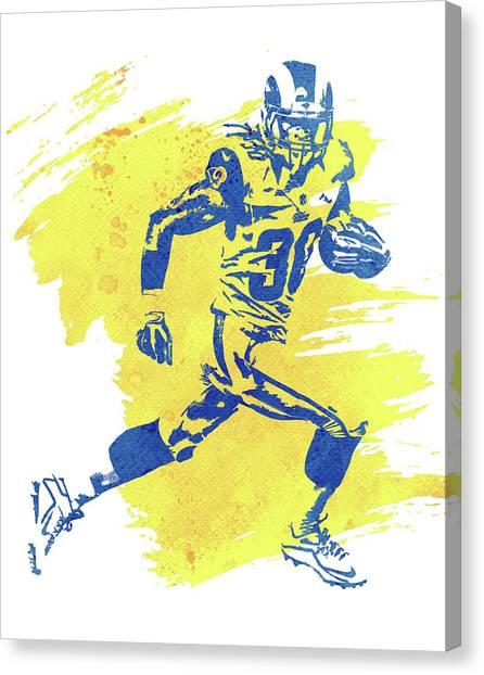 Los Angeles Rams Canvas Print - Todd Gurley Los Angeles Rams Water Color Art 2 by Joe Hamilton