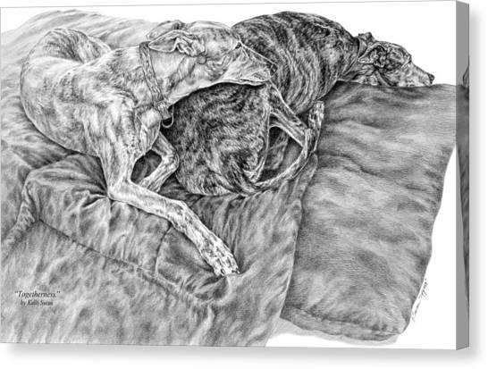 Togetherness - Greyhound Dog Art Print Canvas Print