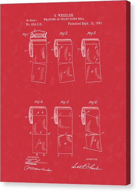 Canvas Print featuring the drawing Toilet Paper Patent Art Red by Prior Art Design