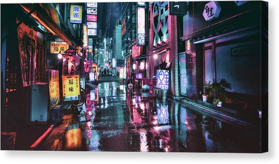 Bladerunner Canvas Print - Tokyo At Night by Guillaume Marcotte