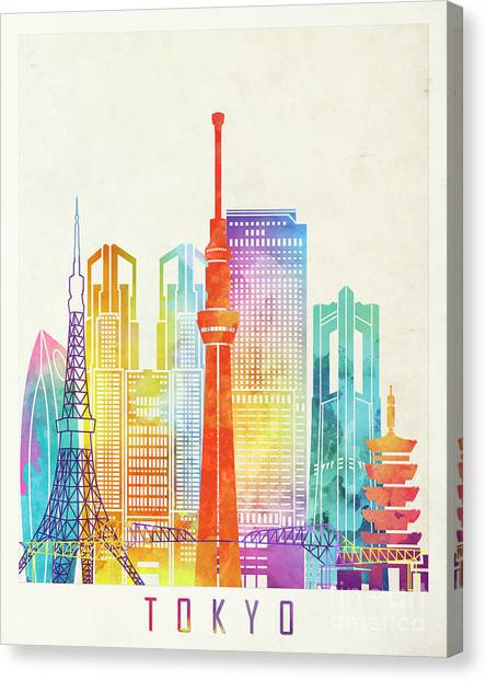 Tokyo Skyline Canvas Print - Tokyo Landmarks Watercolor Poster by Pablo Romero