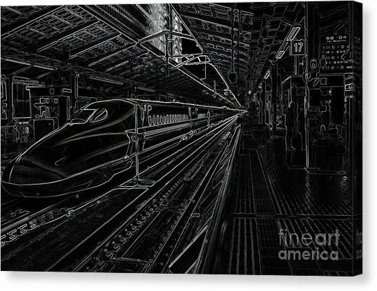 Bullet Trains Canvas Print - Tokyo To Kyoto, Bullet Train, Japan Negative by Perry Rodriguez