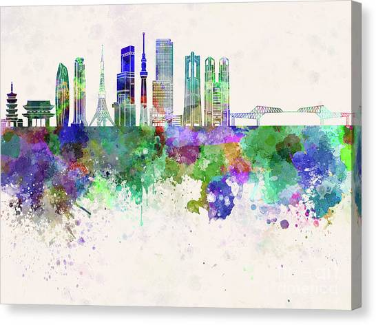 Tokyo Skyline Canvas Print - Tokyo V3 Skyline In Watercolor Background by Pablo Romero
