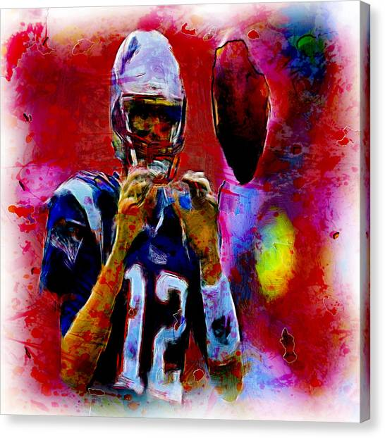 John Elway Canvas Print - Tom Brady 12b by Brian Reaves
