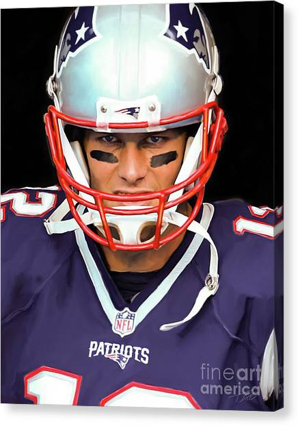 Superbowl Canvas Print - Tom Brady - Patriots by Paul Tagliamonte