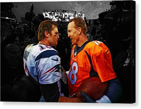 John Elway Canvas Print - Tom Brady And Peyton Manning by Brian Reaves