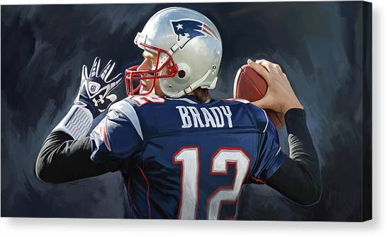 Nfl Canvas Print - Tom Brady Artwork by Sheraz A