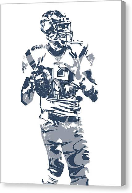 Tom Brady Canvas Print - Tom Brady New England Patriots Pixel Art 10 by Joe Hamilton