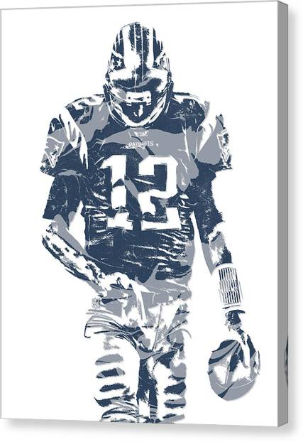 Tom Brady Canvas Print - Tom Brady New England Patriots Pixel Art 12 by Joe Hamilton