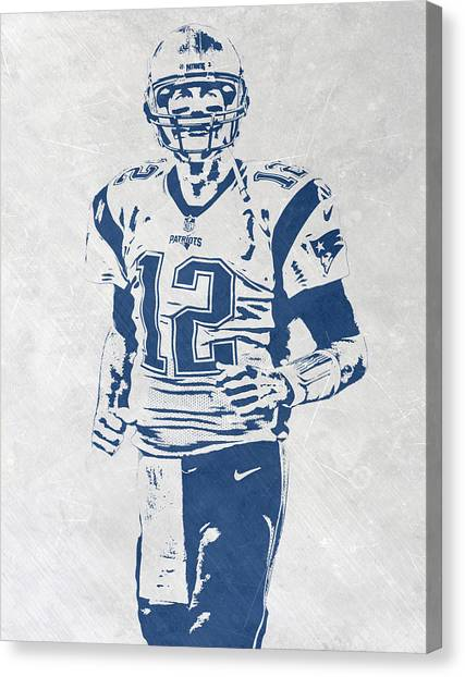 Tom Brady Canvas Print - Tom Brady New England Patriots Pixel Art 2 by Joe Hamilton