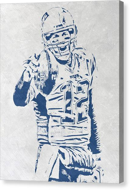 Tom Brady Canvas Print - Tom Brady New England Patriots Pixel Art 3 by Joe Hamilton