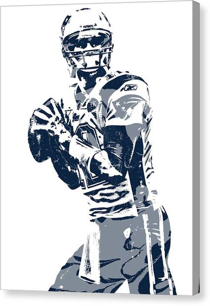 Tom Brady Canvas Print - Tom Brady New England Patriots Pixel Art 35 by Joe Hamilton