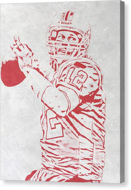 Tom Brady Canvas Print - Tom Brady New England Patriots Pixel Art 4 by Joe Hamilton