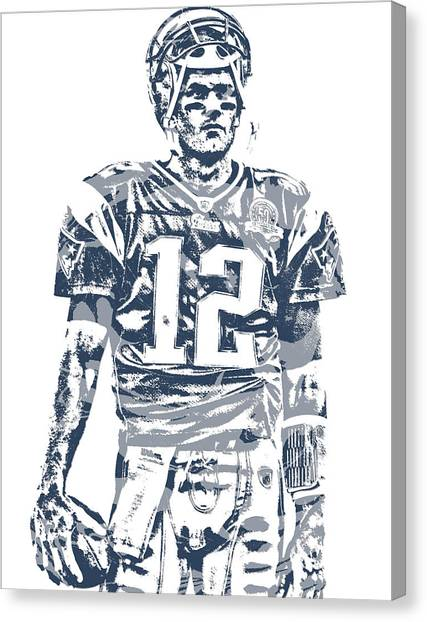 Tom Brady Canvas Print - Tom Brady New England Patriots Pixel Art 40 by Joe Hamilton