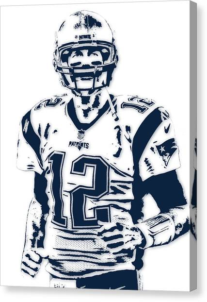Football Canvas Print - Tom Brady New England Patriots Pixel Art 6 by Joe Hamilton