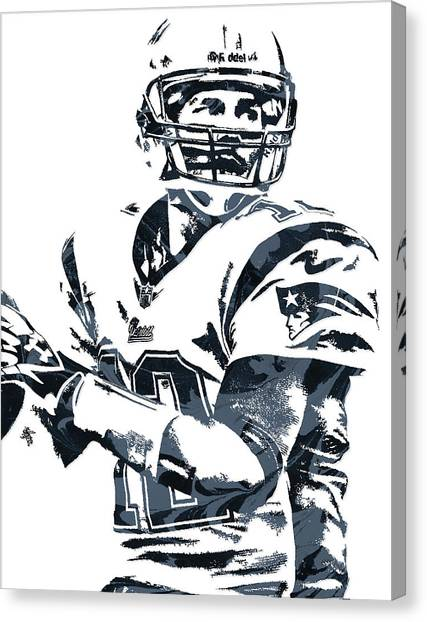 Tom Brady Canvas Print - Tom Brady New England Patriots Pixel Art 7 by Joe Hamilton