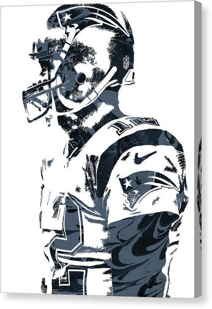 Tom Brady Canvas Print - Tom Brady New England Patriots Pixel Art 8 by Joe Hamilton