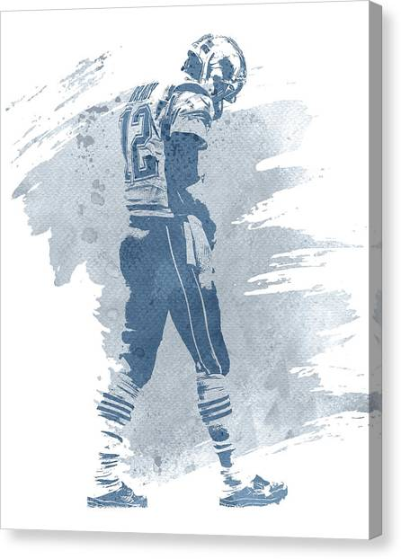 Tom Brady Canvas Print - Tom Brady New England Patriots Water Color Art 1 by Joe Hamilton