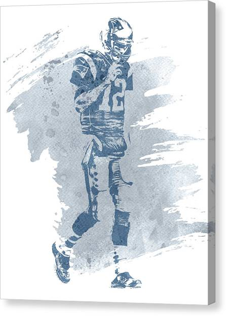 Tom Brady Canvas Print - Tom Brady New England Patriots Water Color Art 4 by Joe Hamilton