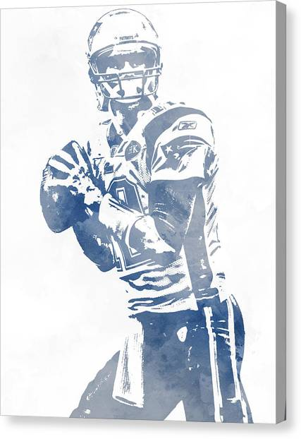 Tom Brady Canvas Print - Tom Brady New England Patriots Water Color Pixel Art 5 by Joe Hamilton