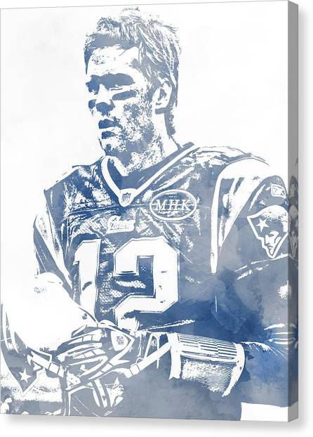 Tom Brady Canvas Print - Tom Brady New England Patriots Water Color Pixel Art 6 by Joe Hamilton