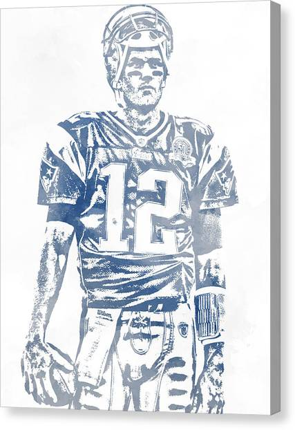 Tom Brady Canvas Print - Tom Brady New England Patriots Water Color Pixel Art 7 by Joe Hamilton