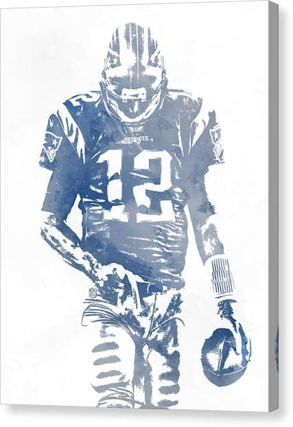 Tom Brady Canvas Print - Tom Brady New England Patriots Water Color Pixel Art 8 by Joe Hamilton