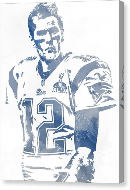 Tom Brady Canvas Print - Tom Brady New England Patriots Water Color Pixel Art 9 by Joe Hamilton