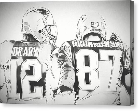 Patriot League Canvas Print - Tom Brady Rob Gronkowski Sketch by Dan Sproul