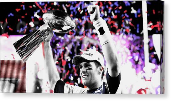 Joe Montana Canvas Print - Tom Brady Superbowl Victory by Brian Reaves