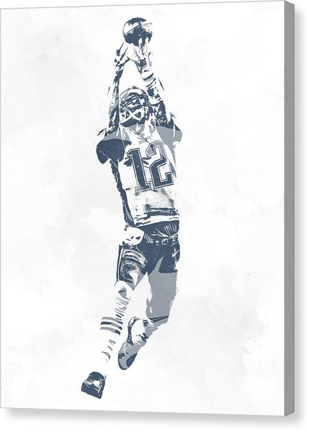 Tom Brady Canvas Print - Tom Brady The Drop New England Patriots Pixel Art by Joe Hamilton