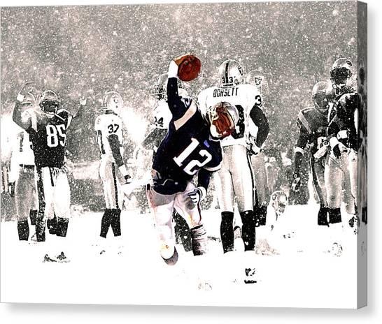 John Elway Canvas Print - Tom Brady Touchdown Spike by Brian Reaves