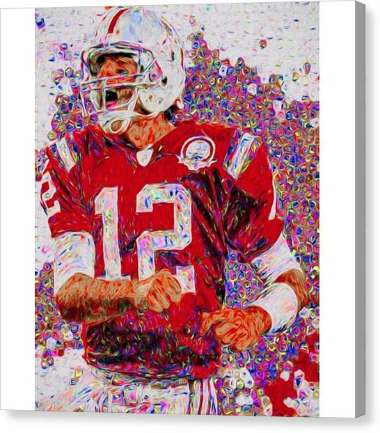 Superbowl Canvas Print - Tom Brady. University Of Michigan by David Haskett