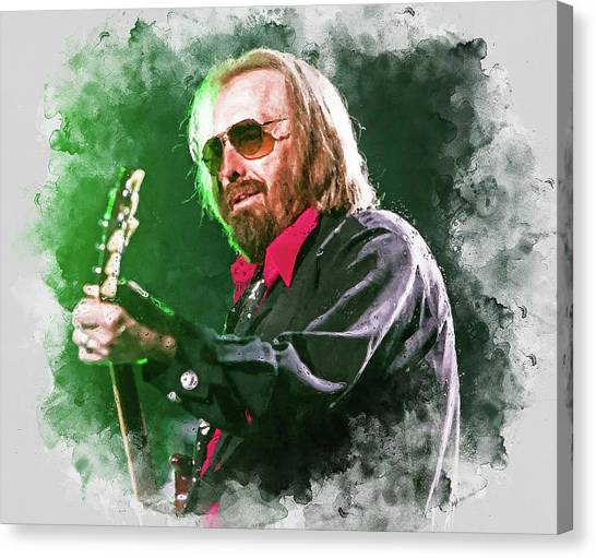 Tom Petty - 20 Canvas Print by Andrea Mazzocchetti