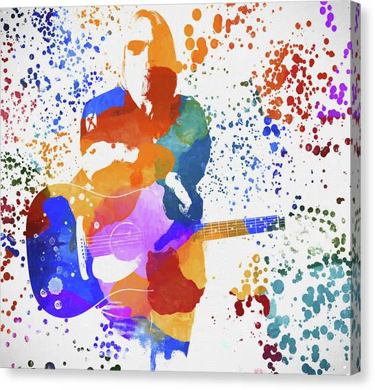 Tom Petty Canvas Print - Tom Petty Paint Splatter by Dan Sproul
