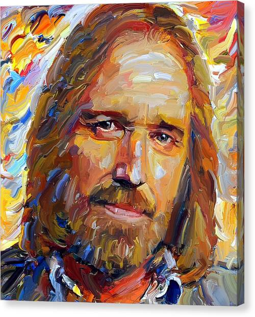Indoors Canvas Print - Tom Petty Tribute Portrait 1 by Yury Malkov