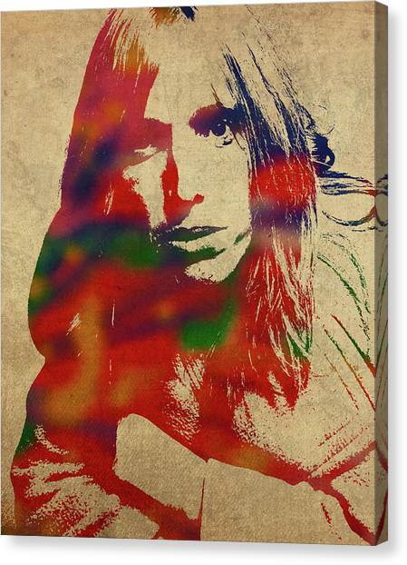 Tom Petty Canvas Print - Tom Petty Watercolor Portrait by Design Turnpike