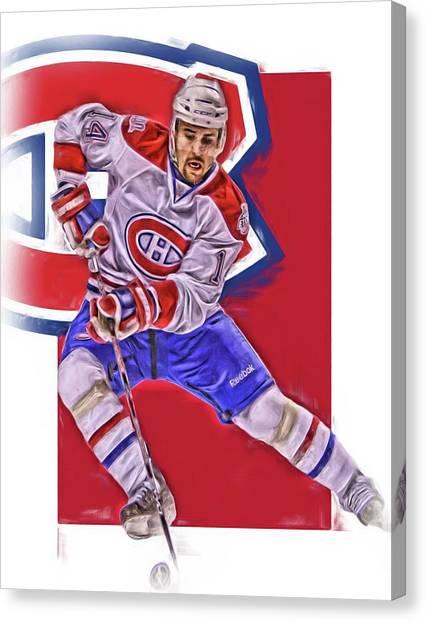 Montreal Canadiens Canvas Print - Tomas Plekanec Montreal Canadiens Oil Art by Joe Hamilton