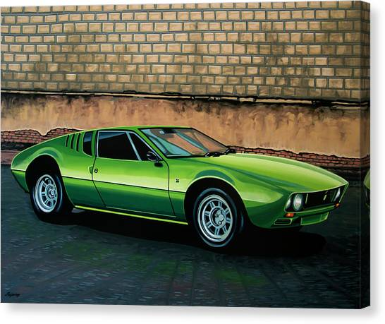 Oldtimers Canvas Print - Tomaso Mangusta 1967 Painting by Paul Meijering