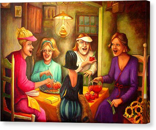 Bloody Mary Canvas Print - Tomato Eaters by Joetta Currie