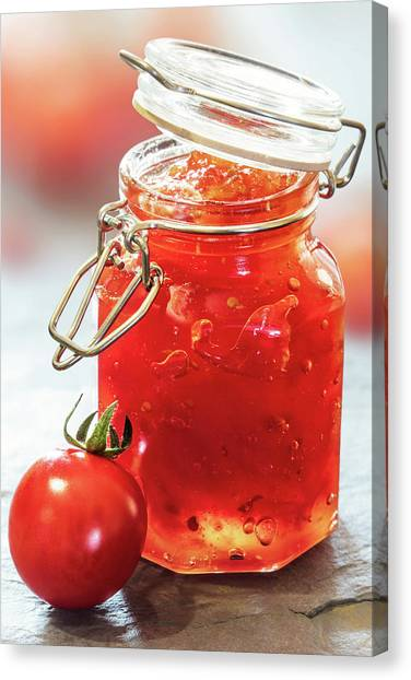 Tomato Canvas Print - Tomato Jam In Glass Jar by Johan Swanepoel