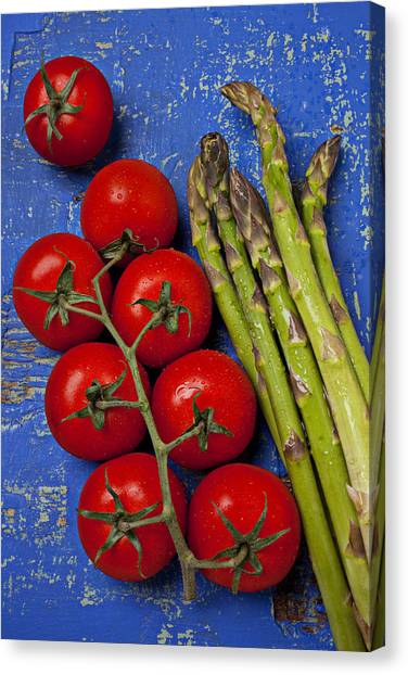 Asparagus Canvas Print - Tomatoes And Asparagus  by Garry Gay