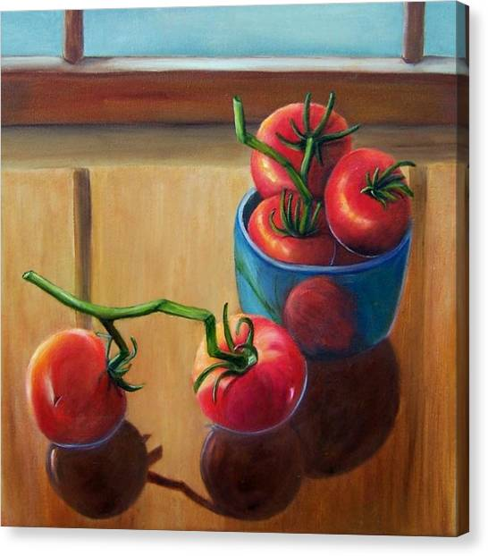 Tomatoes Fresh Off The Vine Canvas Print