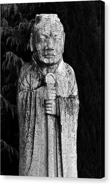 Wu Tang Canvas Print - Tomb Guardian On The Spirit Path. Qianling, China.    Black And White by David Lyons