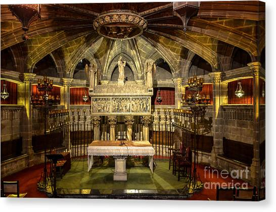 Tomb Of Saint Eulalia In The Crypt Of Barcelona Cathedral Canvas Print