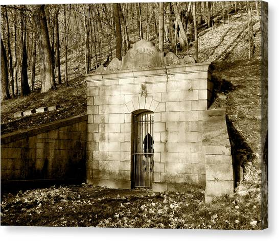 Tomb With A View In Sepia Canvas Print