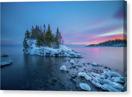 Tombolo Sunset // North Shore, Lake Superior  Canvas Print